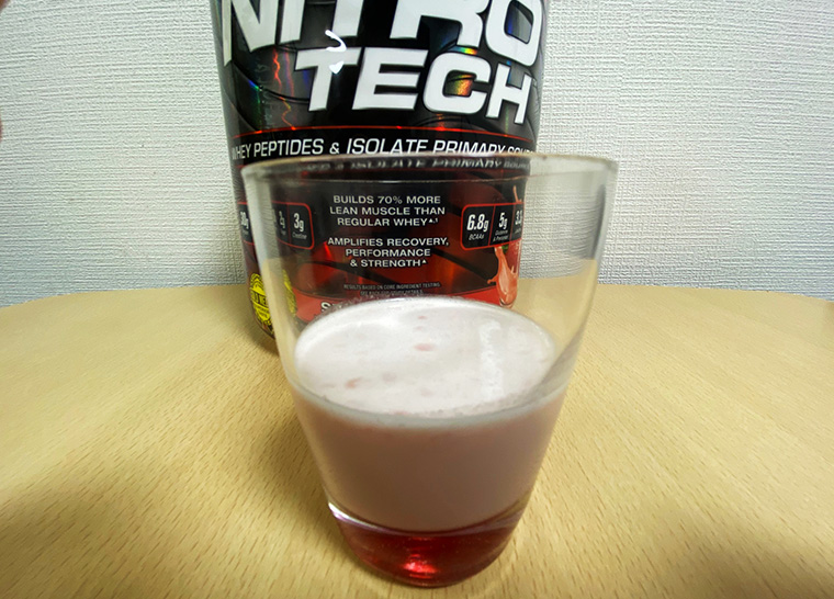 マッスルテック社のニトロテックプロテインを飲んだ際の食感や風味について